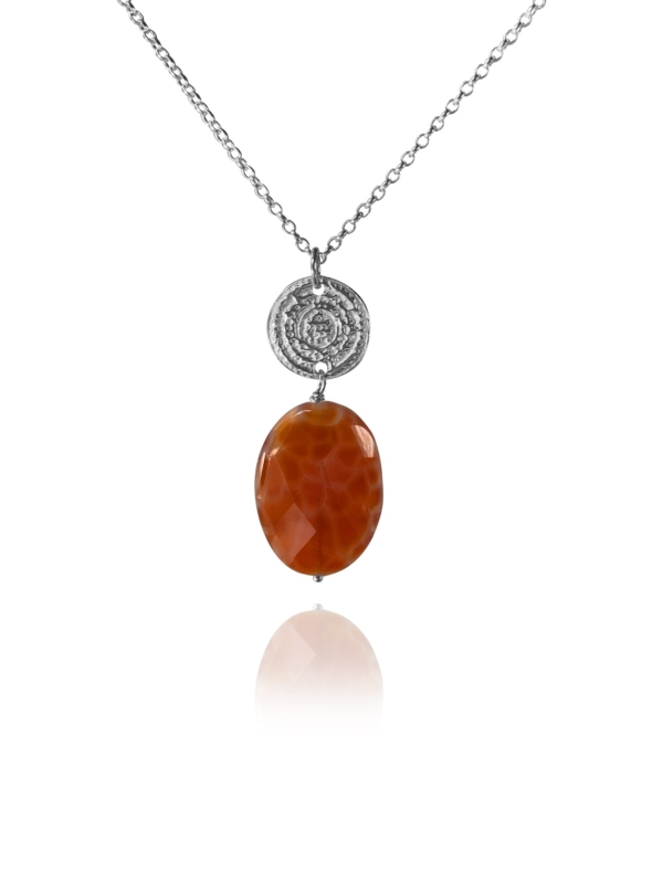 Hope Large necklace silver burnt agate 82436 1