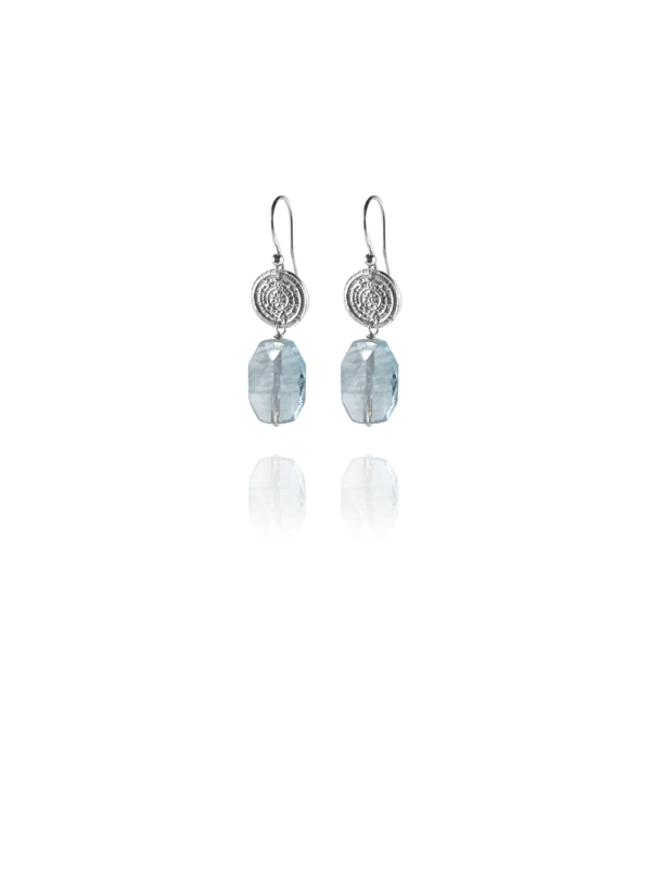 Hope Small earrings silver faceted aquamarine M