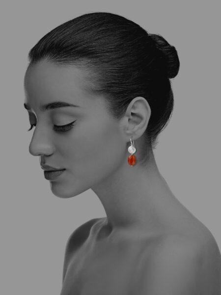 Hope faceted carnelian small earrings