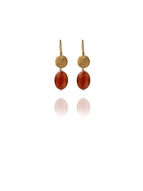 Hope faceted carnelian vermeil small earrings