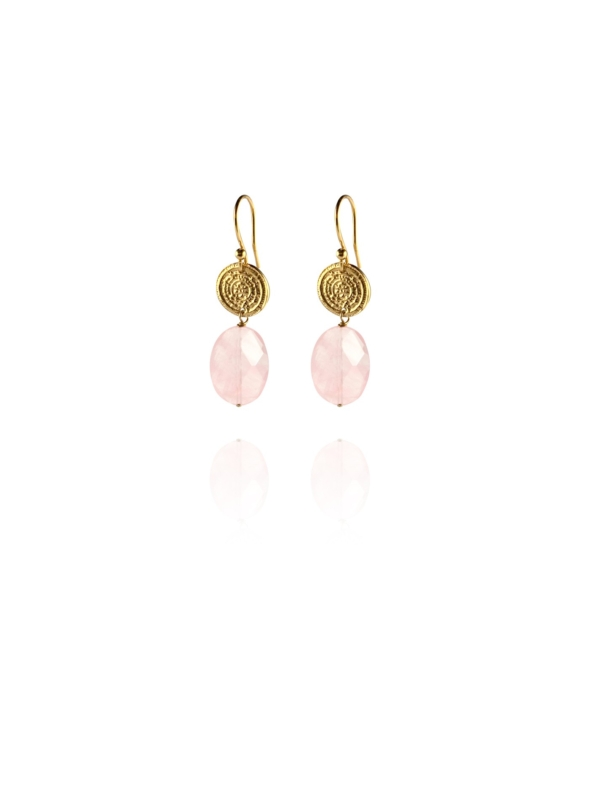 Hope faceted rose quartz vermeil small earrings