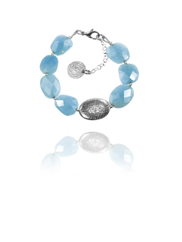 Hope bracelet large silver faceted aquamarine 62432 1