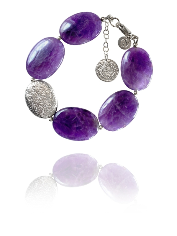 Hope bracelet silver smooth amethyst 62425A 1