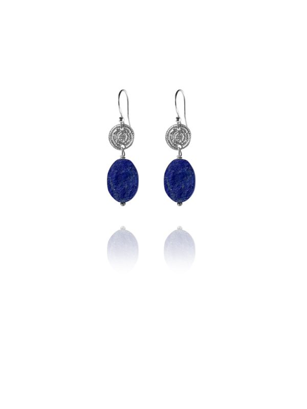 Hope unpolished lapis oval earrings