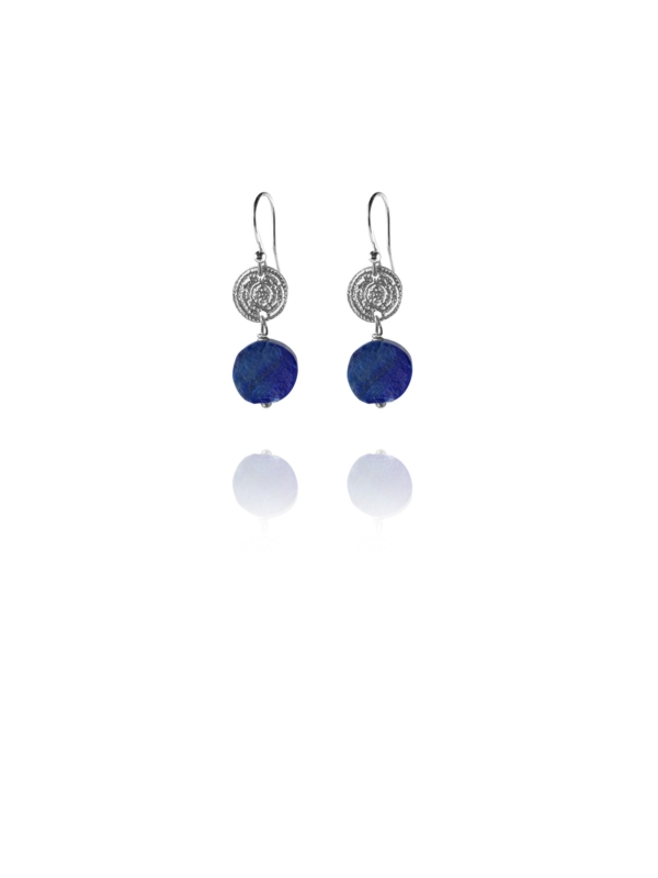Hope earrings silver round rough lapis
