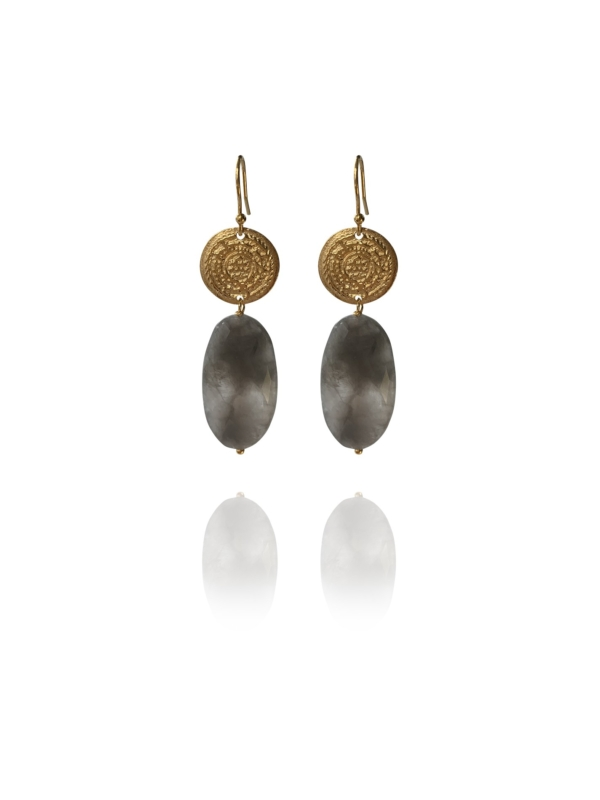 Hope faceted light grey quartz earrings