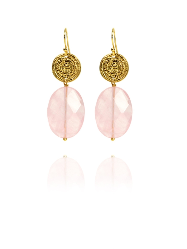 Hope faceted rose quartz vermeil earrings