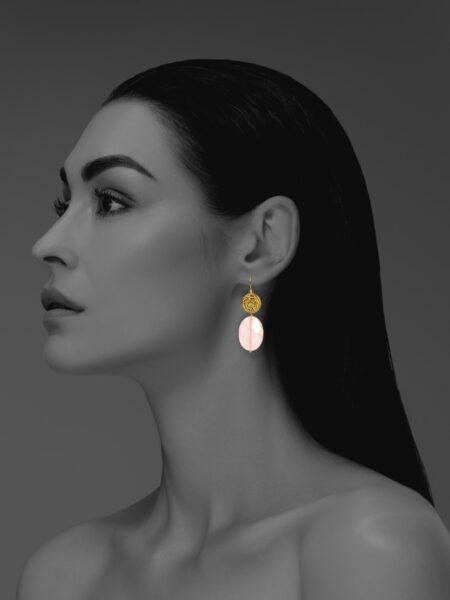 Hope faceted rose quartz vermeil earrings
