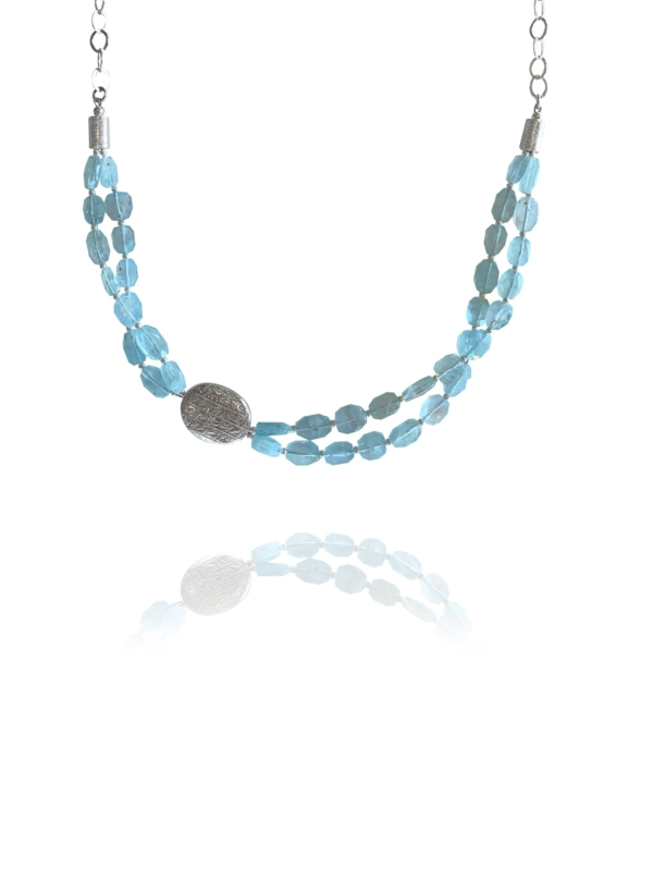 Hope necklace double silver faceted aquamarine 82437 1