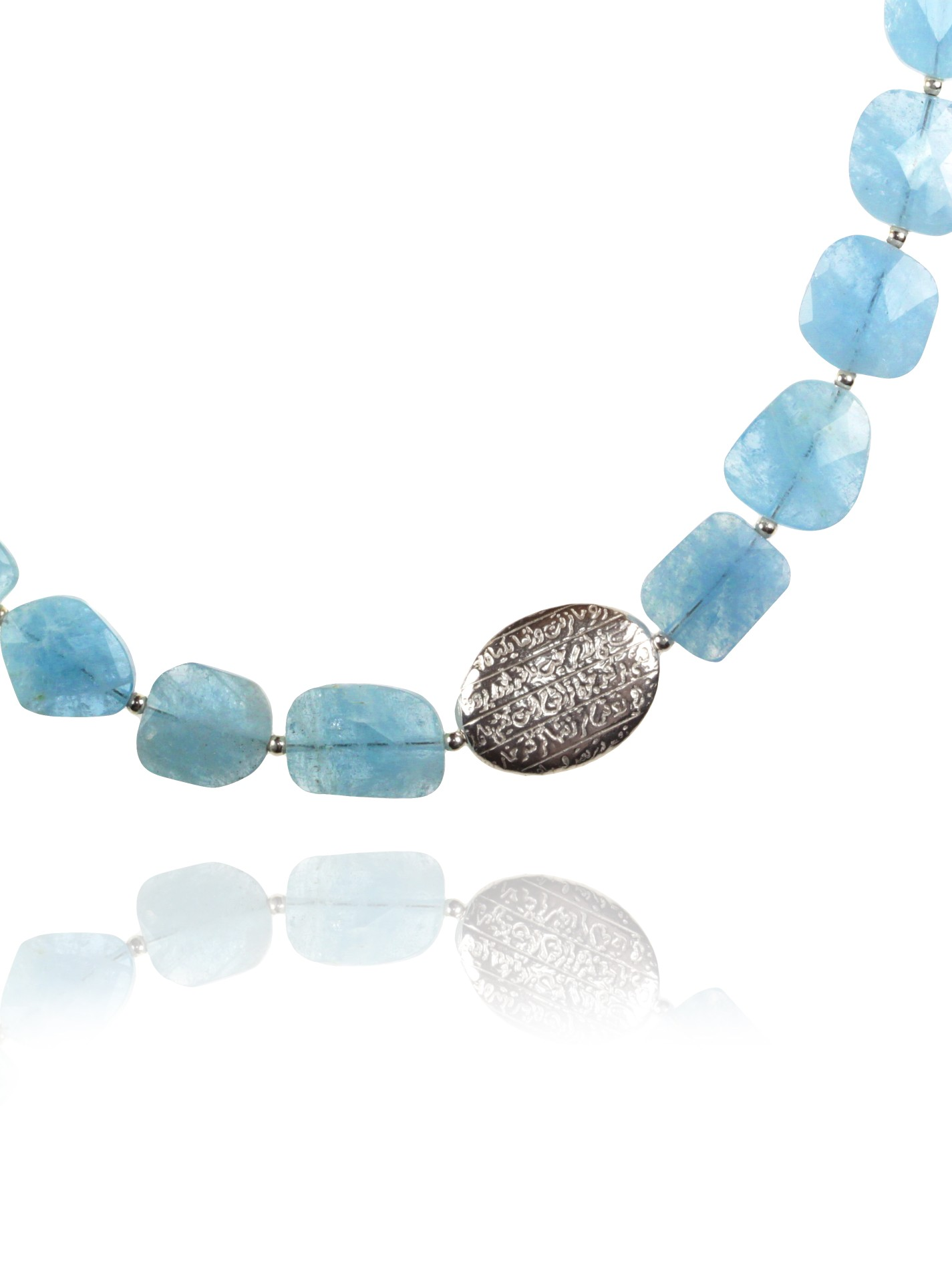 Hope necklace silver faceted aquamarine 82432 1