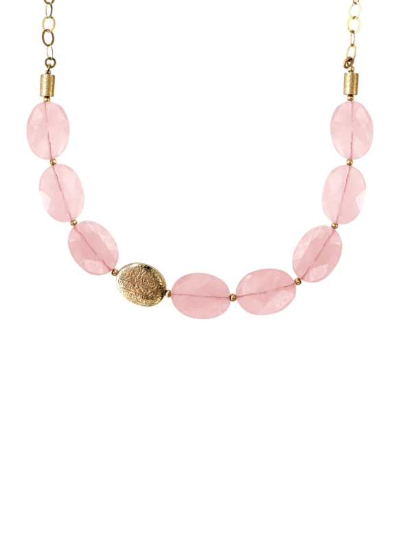Hope rose quartz vermeil necklace