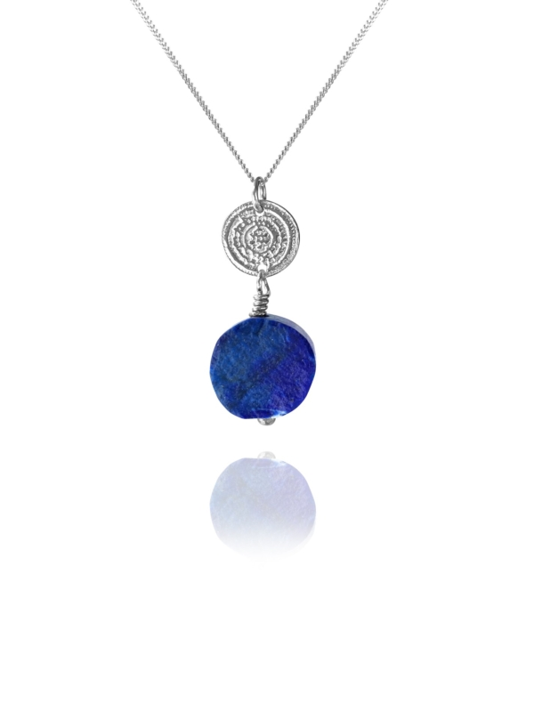 Hope pendent silver round rough lapis 85426 1