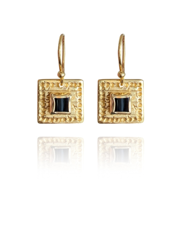 Journey Square earrings silver vermeil Onyx