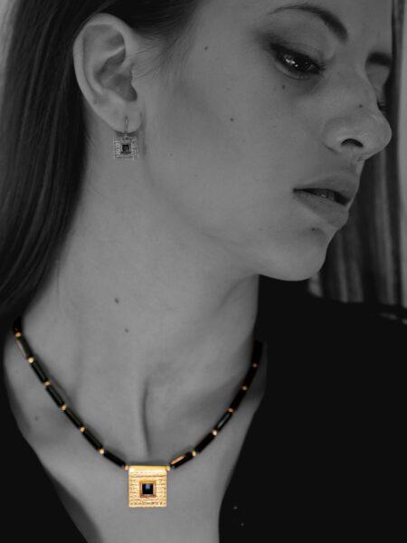 Journey Square onyx necklace