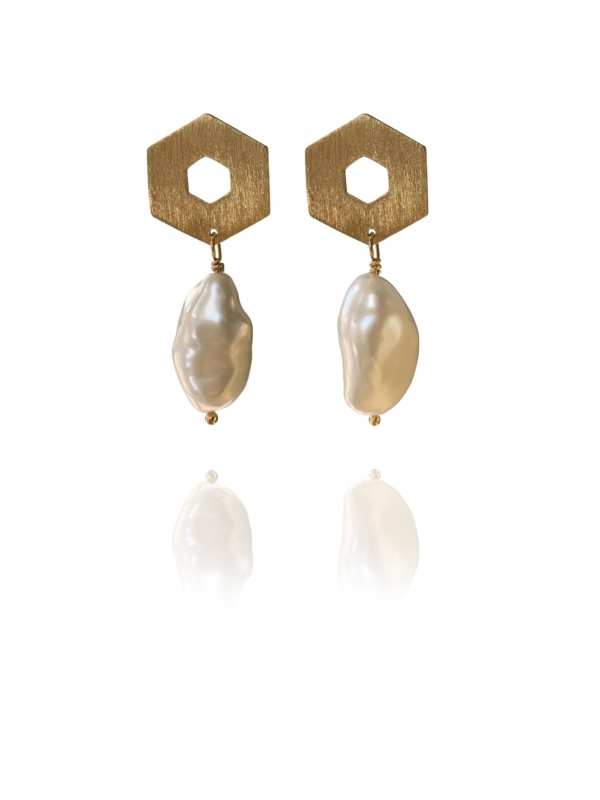 Mosaic Balance vermeil pearl earrings