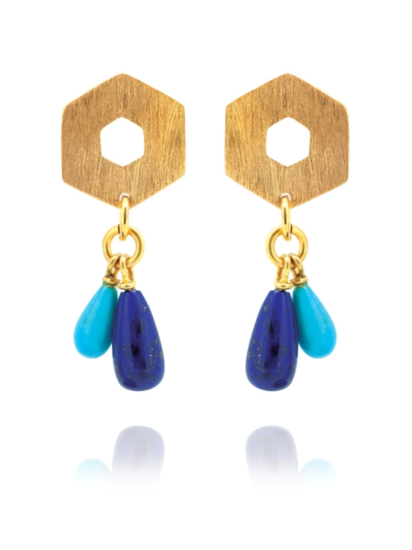 Mosaic Balance vermeil lapis turquoise earrings