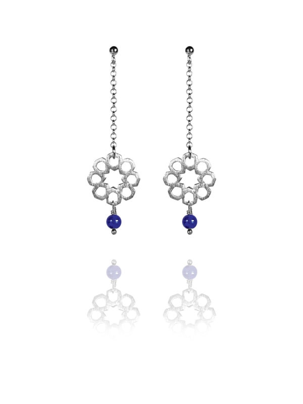 Mosaic Star earrings silver lapis