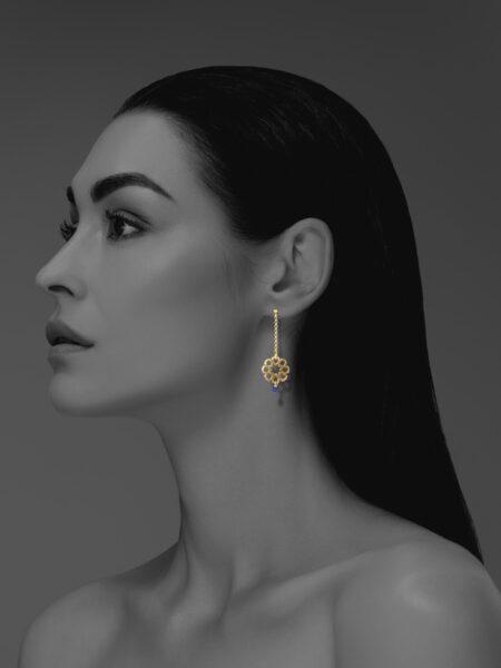 Mosaic Star vermeil lapis earrings