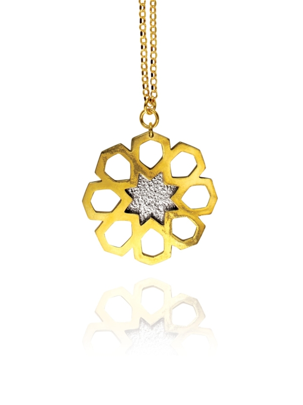 Mosaic Star large necklace silver vermeil