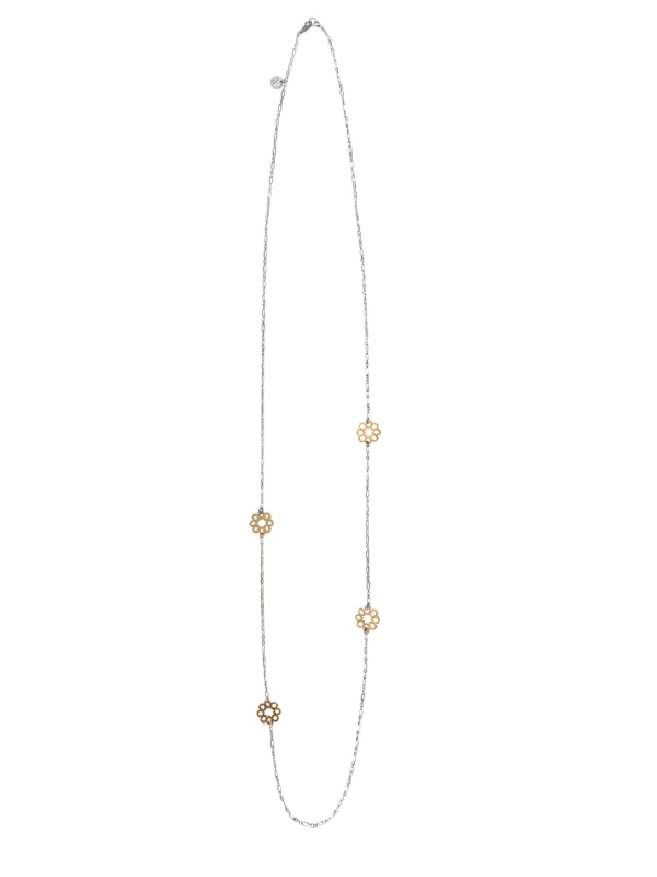 Mosaic Star long necklace silver vermeil