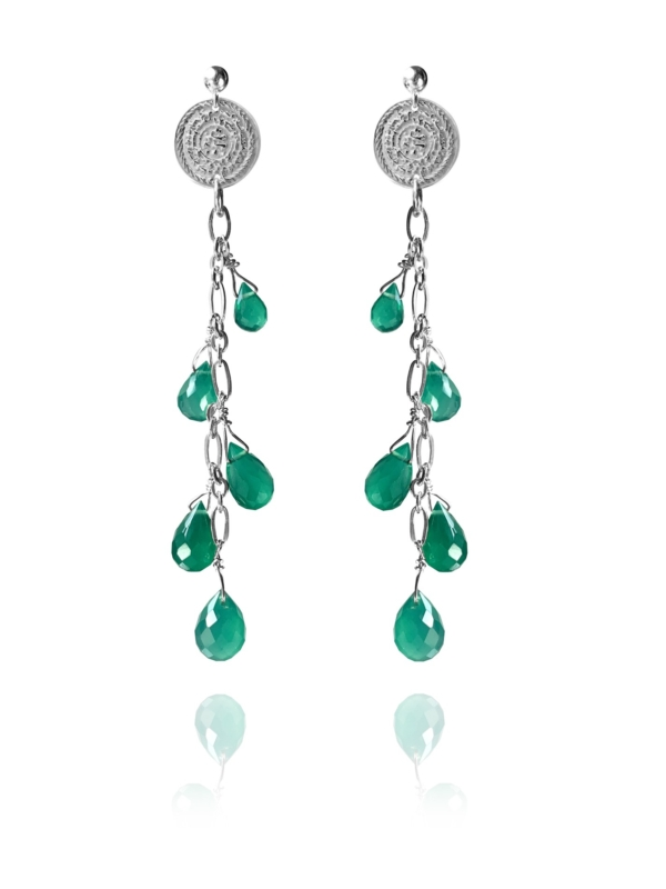 Stars Drop green agate earrings