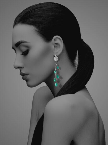 Stars Drop green agate earrings