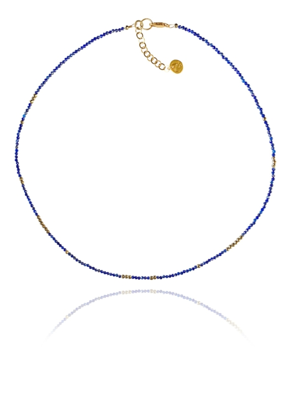 Stars lapis necklace silver faceted pyrite lapis 84108 1
