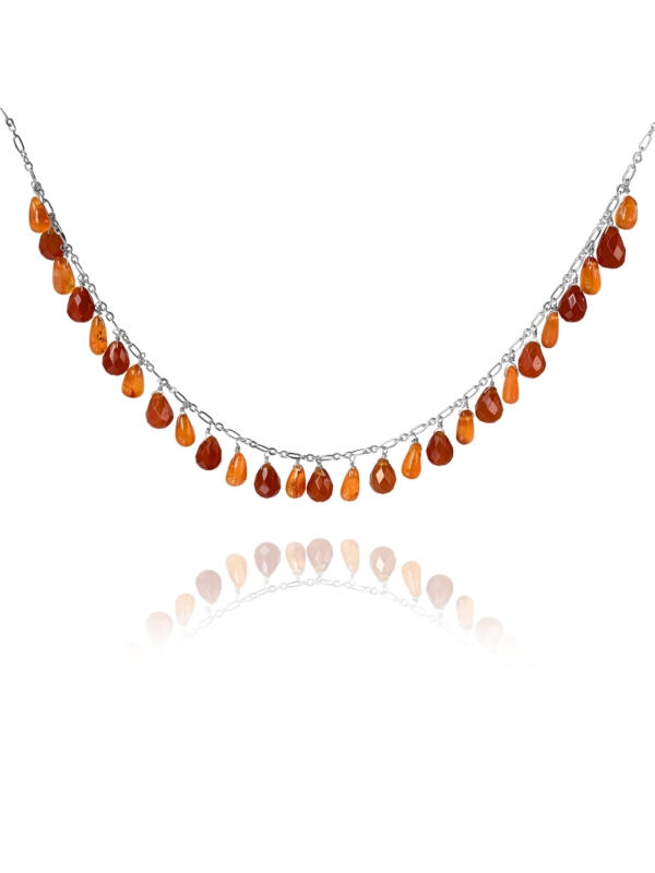 Stars necklace silver faceted carnelian 84103 1