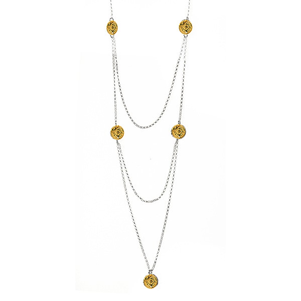 gold coin long necklace G
