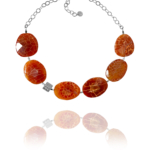 Bead necklace silver faceted burnt agate