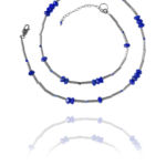 Bead necklace silver faceted lapis