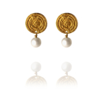 Coin Only earrings pearl silver vermeil