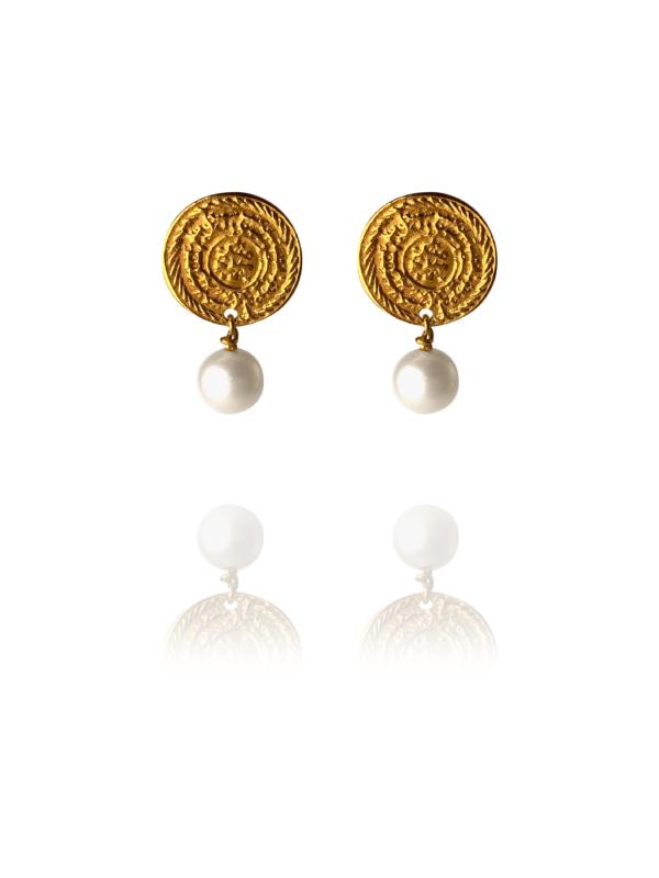 Coins Stud vermeil round pearl earrings