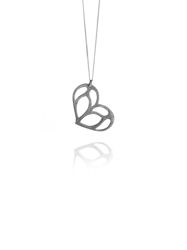 Bloom Love Heart Silver Necklace