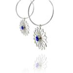 Alina Garden Flower silver lapis hoop earrings
