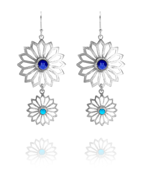 Alina Garden Flowers lapis and turquoise earrings