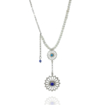 Alina Garden Flowers silver pearls lapis turquoise necklace