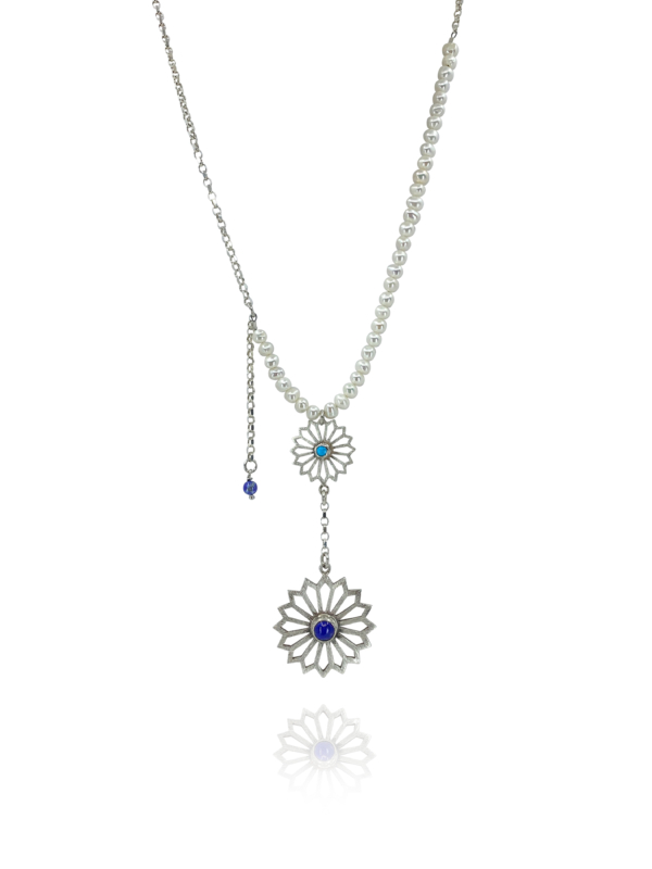 Alina Garden Flowers pearls, lapis and turquoise necklace