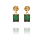 Coins Amalia vermeil green onyx earrings G