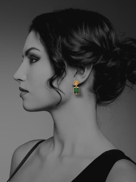 Coins Amalia vermeil green onyx earrings