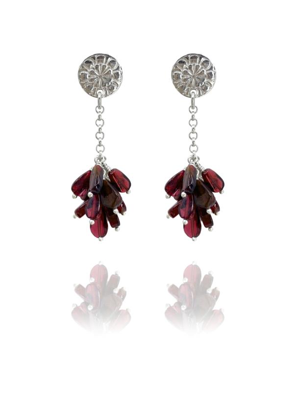assyrian flower silver garnet earrings