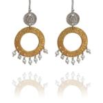 assyrian flower vermeil pearl drops earrings