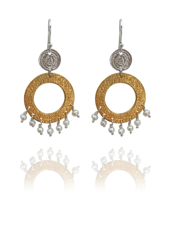 Coins Disc silver vermeil pearl earrings