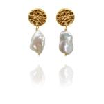 assyrian flower vermeil pearl earrings G