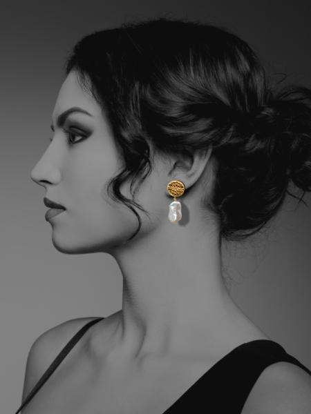 Assyrian Flower vermeil pearl earrings