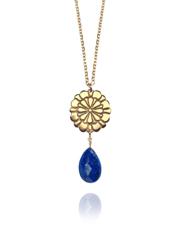 Assyrian Flower lapis pendant