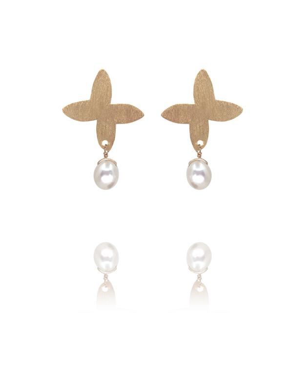 Assyrian Petal pearl vermeil earrings