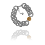 Coin chain bracelet silver vermeil