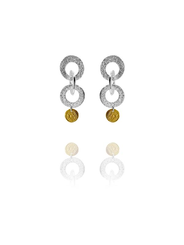 Coins Chain vermeil silver earrings