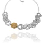 Coin chain necklace silver vermeil
